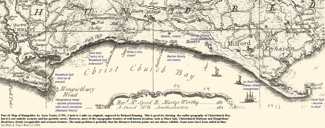 Part of Isaac Taylor's 1759 map of Christchurch Bay, Hampshire