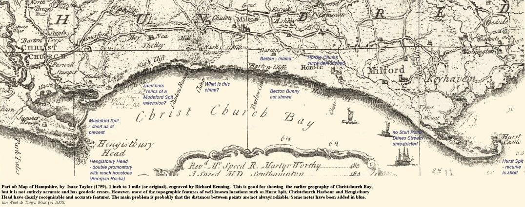 Part of Isaac Taylor's 1759 map of Christchurch Bay, Hampshire