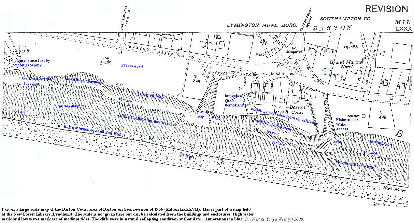 A large scale map of the Barton Court area at Barton-on-Sea, Hampshire, in 1936, for comparison with modern aerial photographs