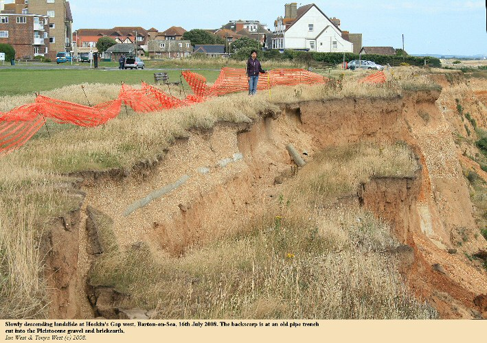 The Hoskin's West Landslide at Barton-on-Sea, Hampshire, on the 16th July 2008