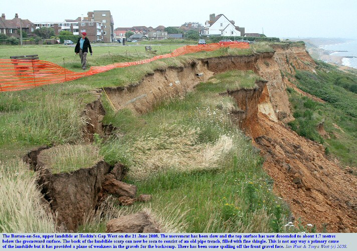 The Hoskin's West Landslide at Barton-on-Sea, Hampshire, on the 21st June 2008