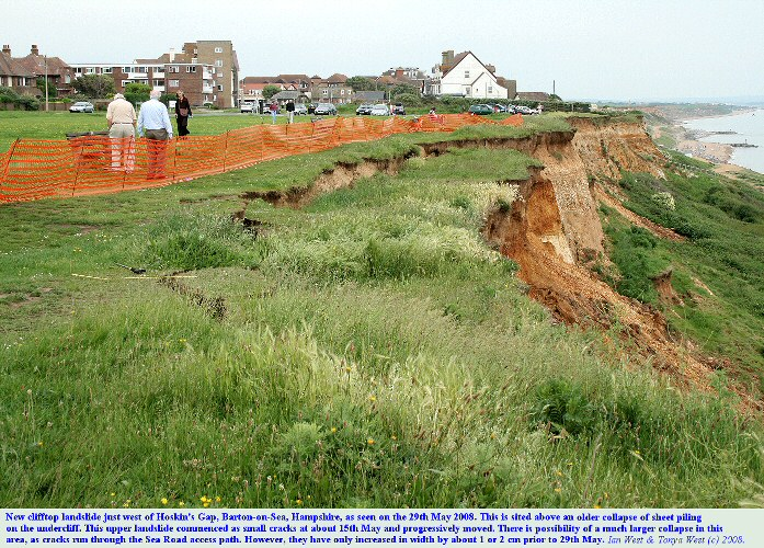 A cliff-top landslide at Hoskin's Gap West, Barton-on-Sea, Hampshire, as seen on 29th May 2008