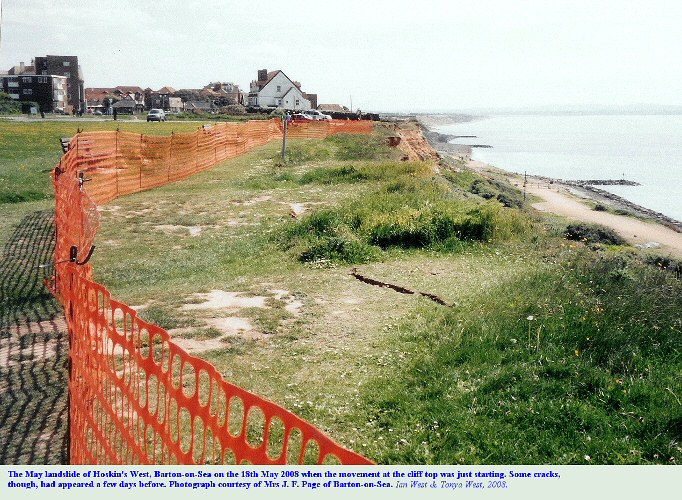 Start of cliff-top landslide at Barton-on-Sea, Hampshire, as seen on the 18th May 2008