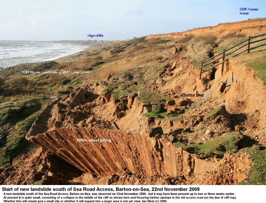 A new landslide in the middle cliff south of the Sea Road Access, Barton-on-Sea, Hampshire, 22nd November 2009