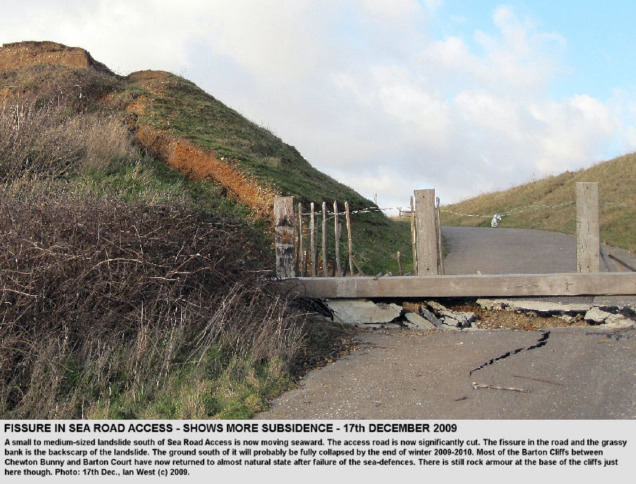 Further enlargment of a fissure and backscarp fault at the Sea Road Access, Barton-on-Sea, Hampshire, as a new landslide develops, 17th December 2009