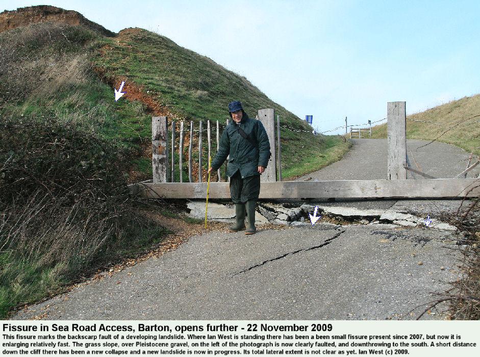 Enlarging fissure and backscarp fault at the Sea Road Access, Barton-on-Sea, Hampshire, as a new landslide develops, 22nd November 2009