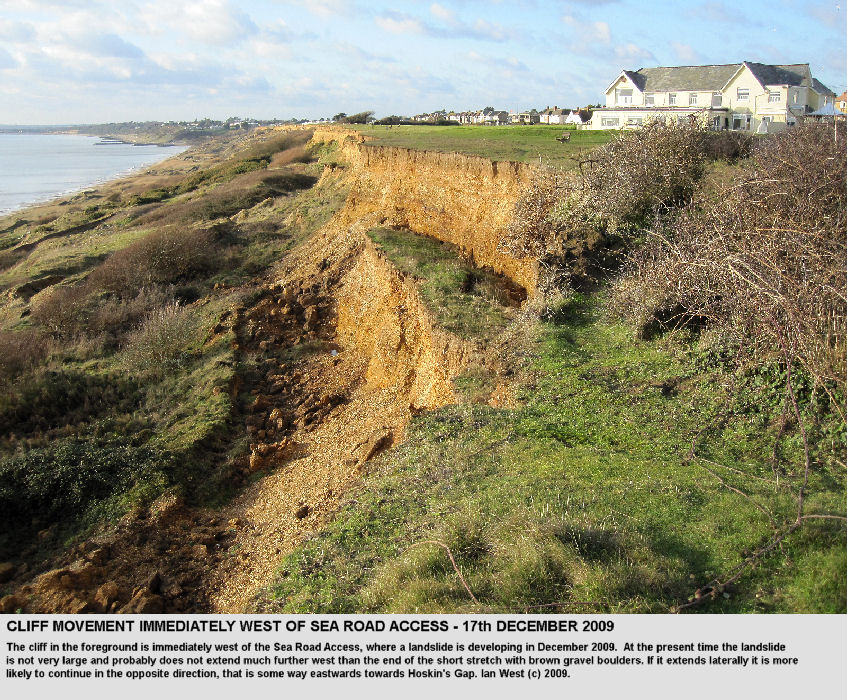 The western margin of the Sea Road Access Landslide in the upper cliff on the 17th December 2009, Barton-on-Sea, Hampshire