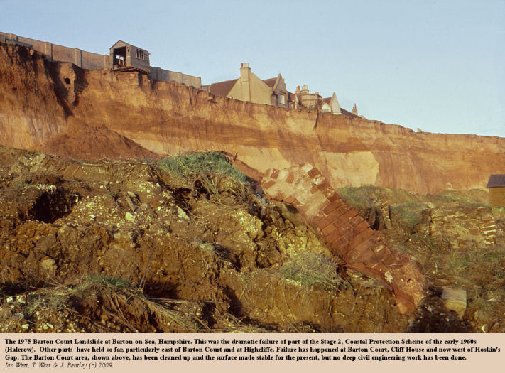 The dramatic collapse of the Stage 2 Coastal Protection Works at Barton Court, Barton-on-Sea, Hampshire, in 1975