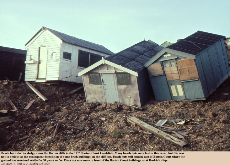Beach huts start to slide down the cliff in the 1975 Barton Court Landslide, Barton-on-Sea, Hampshire