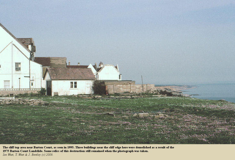 The cliff top near Barton Court, Barton-on-Sea, as seen in 1995 - here the demolition of Barton Lodge and other buildings took place in 1975, as a result of the Barton Court Landslide