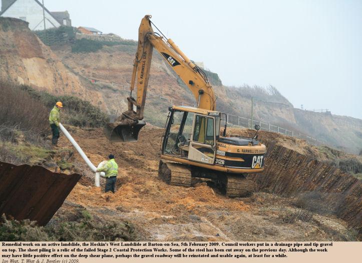 Remedial work on an active landslide, Hoskin's West Landslide, Barton-on-Sea, Hampshire, 5th February 2009