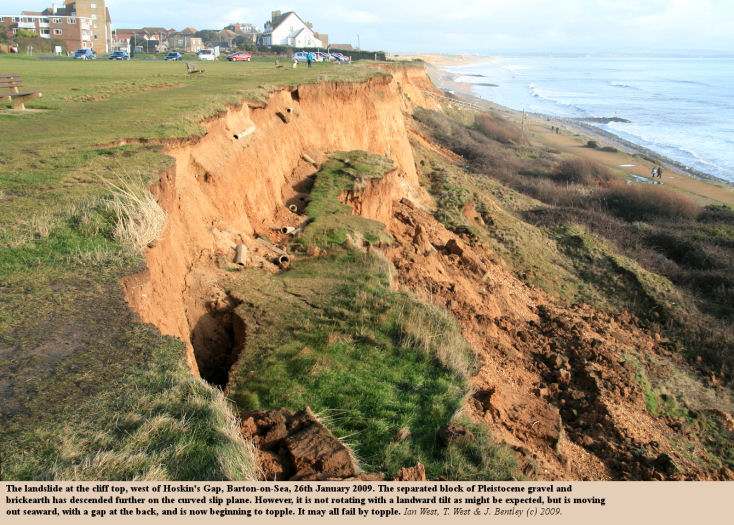 The Hoskin's West Landslide at Barton-on-Sea, Hampshire, on the 26th January 2009