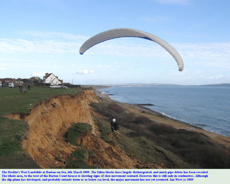 The Hoskin's West Landslide at Barton-on-Sea, Hampshire, with a paraglider, 6th March 2009