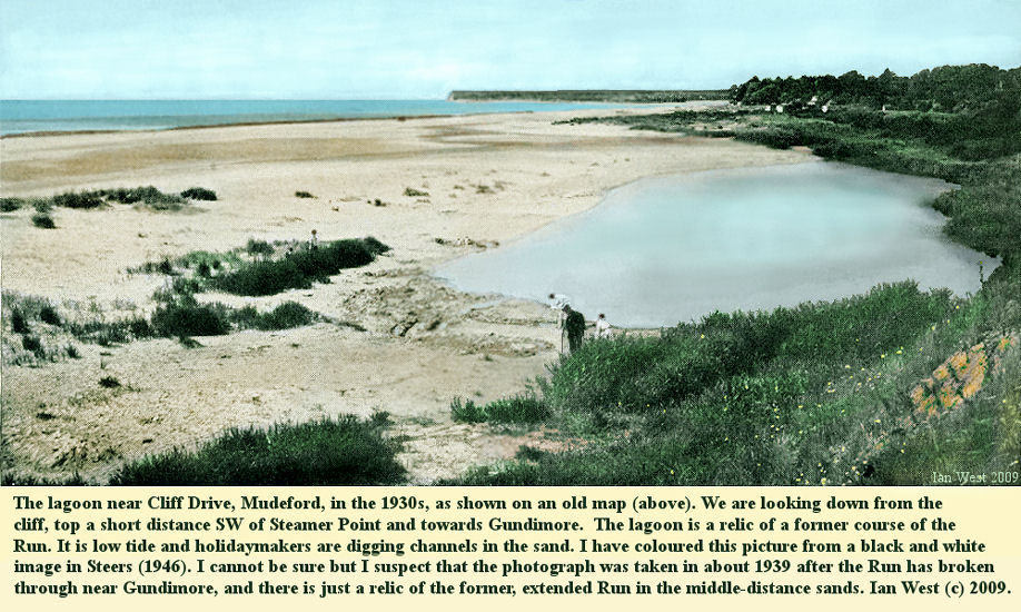 The lagoon near Steamer Point, between Mudeford and Highcliffe, Hampshire, probably in about 1939, and having originated as a relic of a former channel of the Run