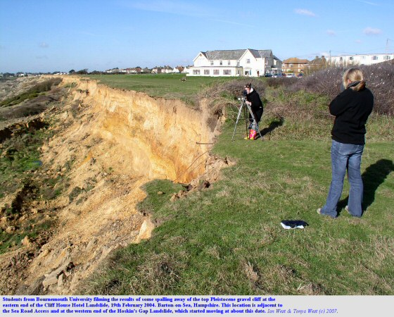 Students from Bournemouth University filming the results of minor spalling at the top of the Cliff House Landslide, Barton-on-Sea, Hampshire, 19th February 2004