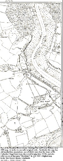 Part of a 1909 topographic map of the Beaulieu River, showing the area around Gins and Lower Exbury