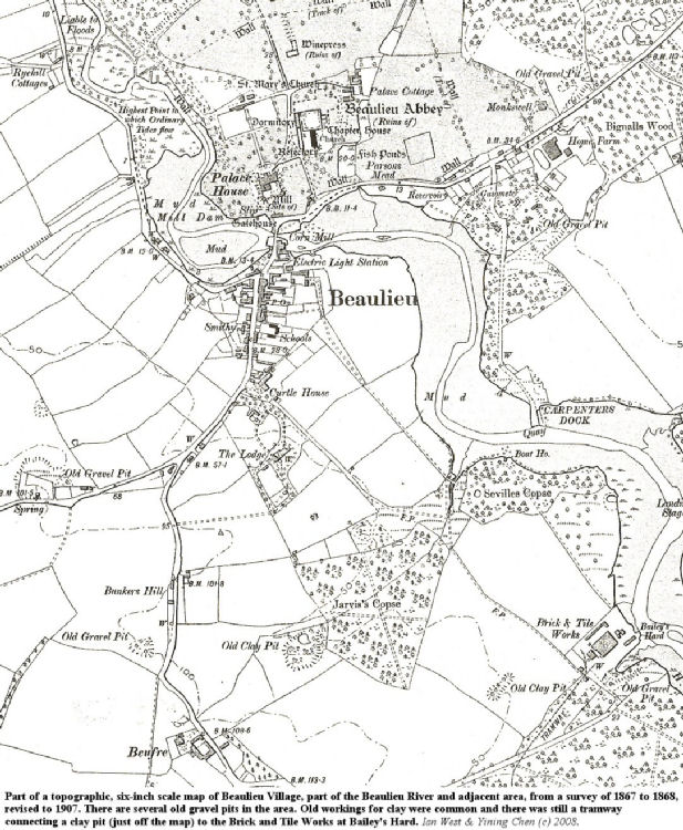 An old topographic map, 6 inch scale, of Beaulieu Village, Hampshire, and adjoining areas, surveyed in 1867-1868 and revised in 1907