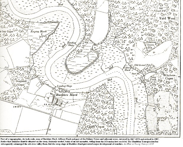 Part of a 1907 six inch map showing Bucklers Hard, Gilbury Hard and the Beaulieu River estuary, Hampshire