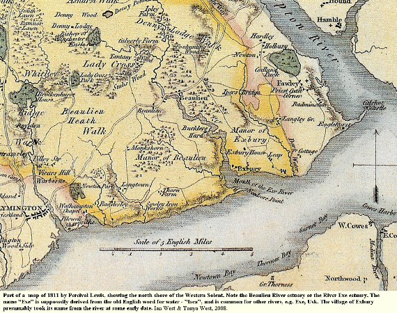 Part of a map by Percival Lewis showing the Beaulieu River Estuary or Exe Estuary, Hampshire, in 1811