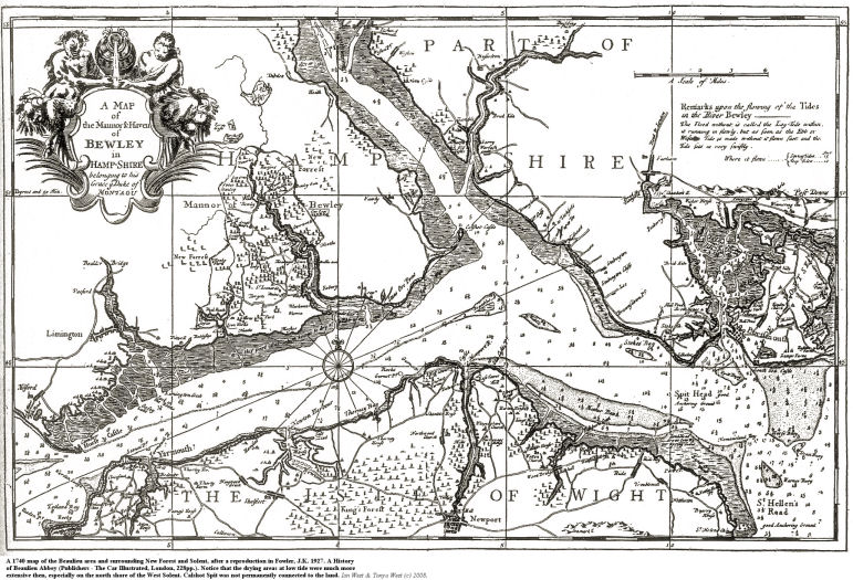A 1740 map of Beaulieu River estuary, Hampshire, and adjacent New Forest and Solent areas