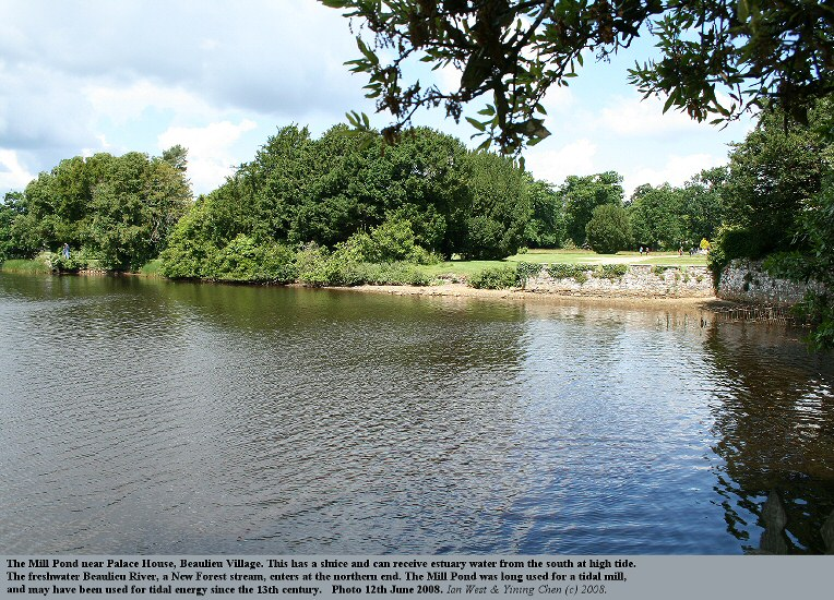 The Mill Pond at Beaulieu Village, used in the past for tidal energy, photo 12th June 2008