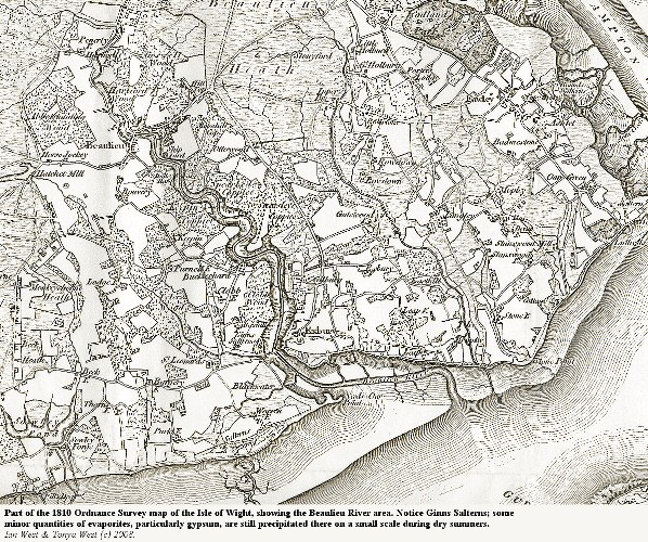 Part of a 1810 Ordnance Survey map showing the Beaulieu River Estuary, Hampshire