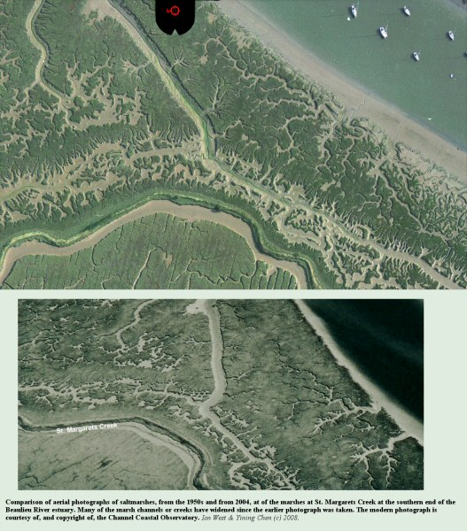 Changes in saltmarsh creeks as shown by comparison of a 1950s aerial photograph and a 2004 aerial photograph, courtesy of the Channel Coastal Observatory, of the St. Margaret's Creek and adjacent area, at the southern end of the Beaulieu River estuary, Hampshire