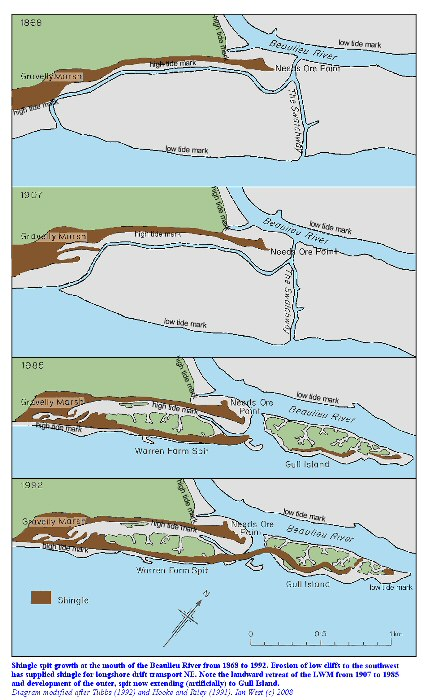 The development of Warren Farm Spit at the mouth of the Beaulieu River from 1868 to 1992, modified after Tubbs (1999) and Hooke and Riley (1991)