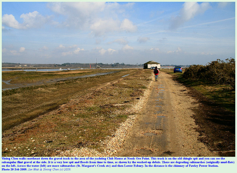 The track to Needs Ore Point is on an old shingle spit, Beaulieu River Estuary, Hampshire, February 2009