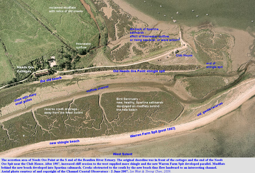 The accretionary area of Warren Farm Spit and the older Needs Ore Spit, near Needs Ore Point, Beaulieu River Estuary, Hampshire, based on an aerial photograph of 2 June 2007 of the Channel Coastal Observatory