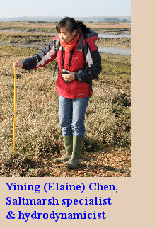 Yining Chen, Saltmarsh specialist and hydrodynamicist, who completed a Ph.D thesis on the Beaulieu River Estuary, Hampshire in 2009