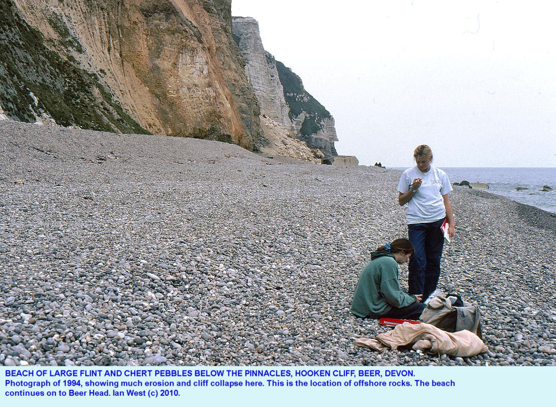 Beach below Hooken Cliff, Beer, East Devon, 1994