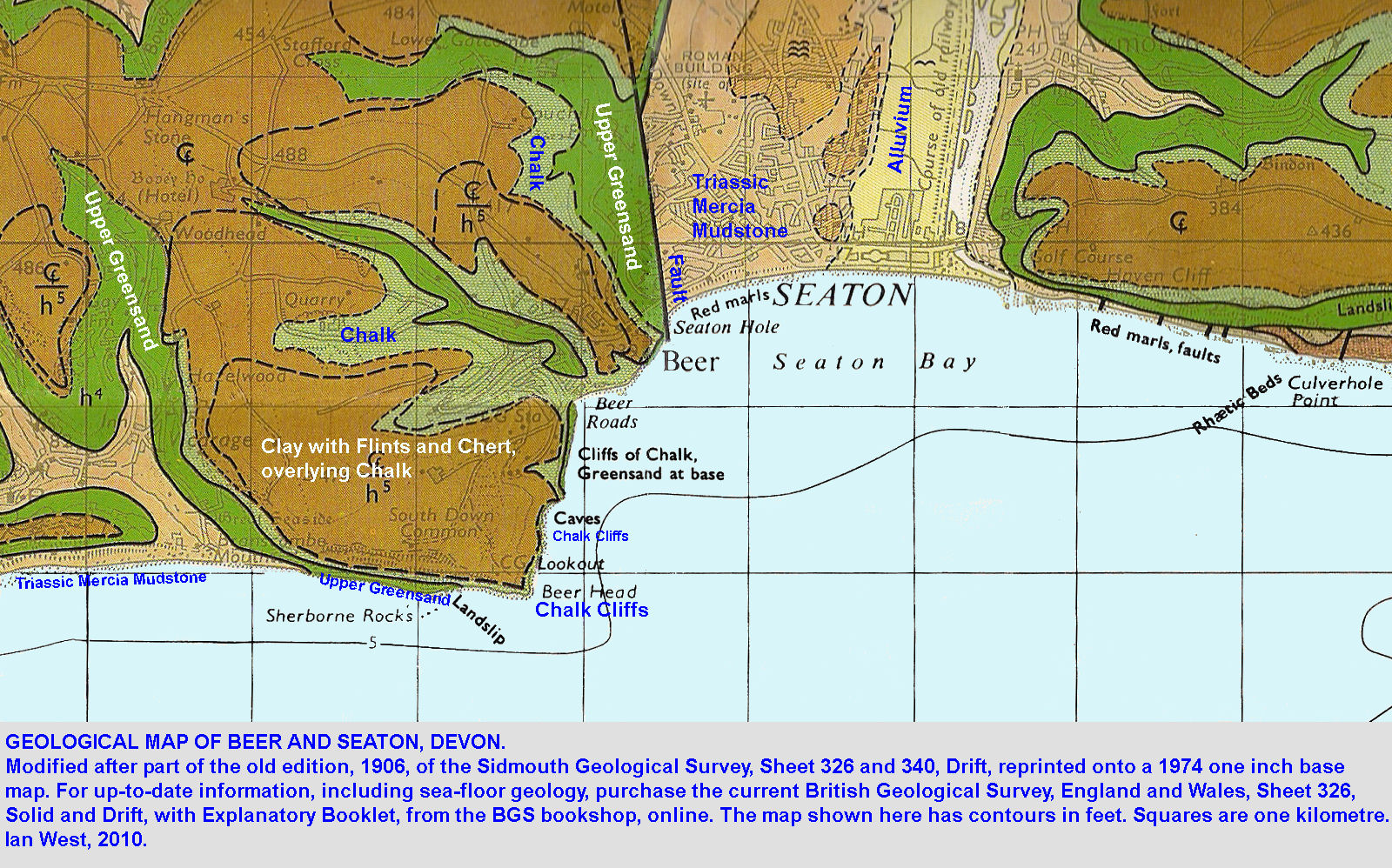 Beer And Seaton Geological Field Guide By Ian West - Portugal geology map