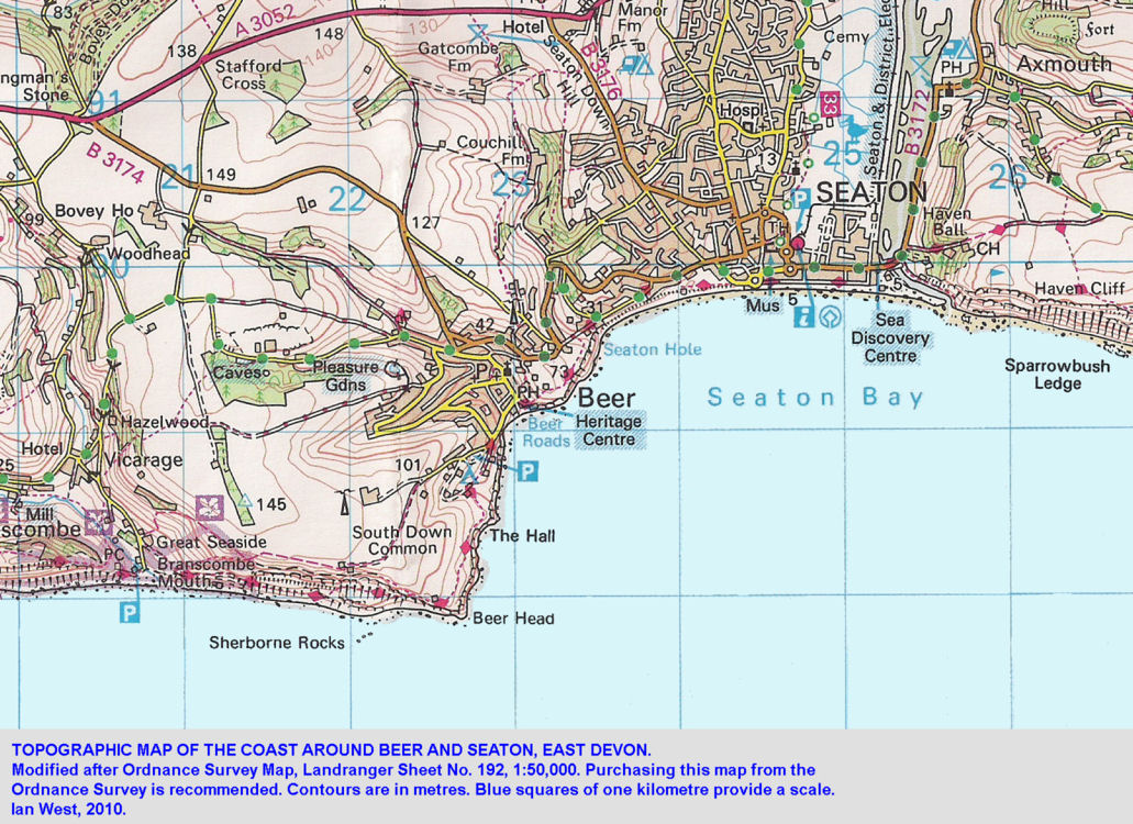 A topographic map of Beer, and Seaton, East Devon, 2008