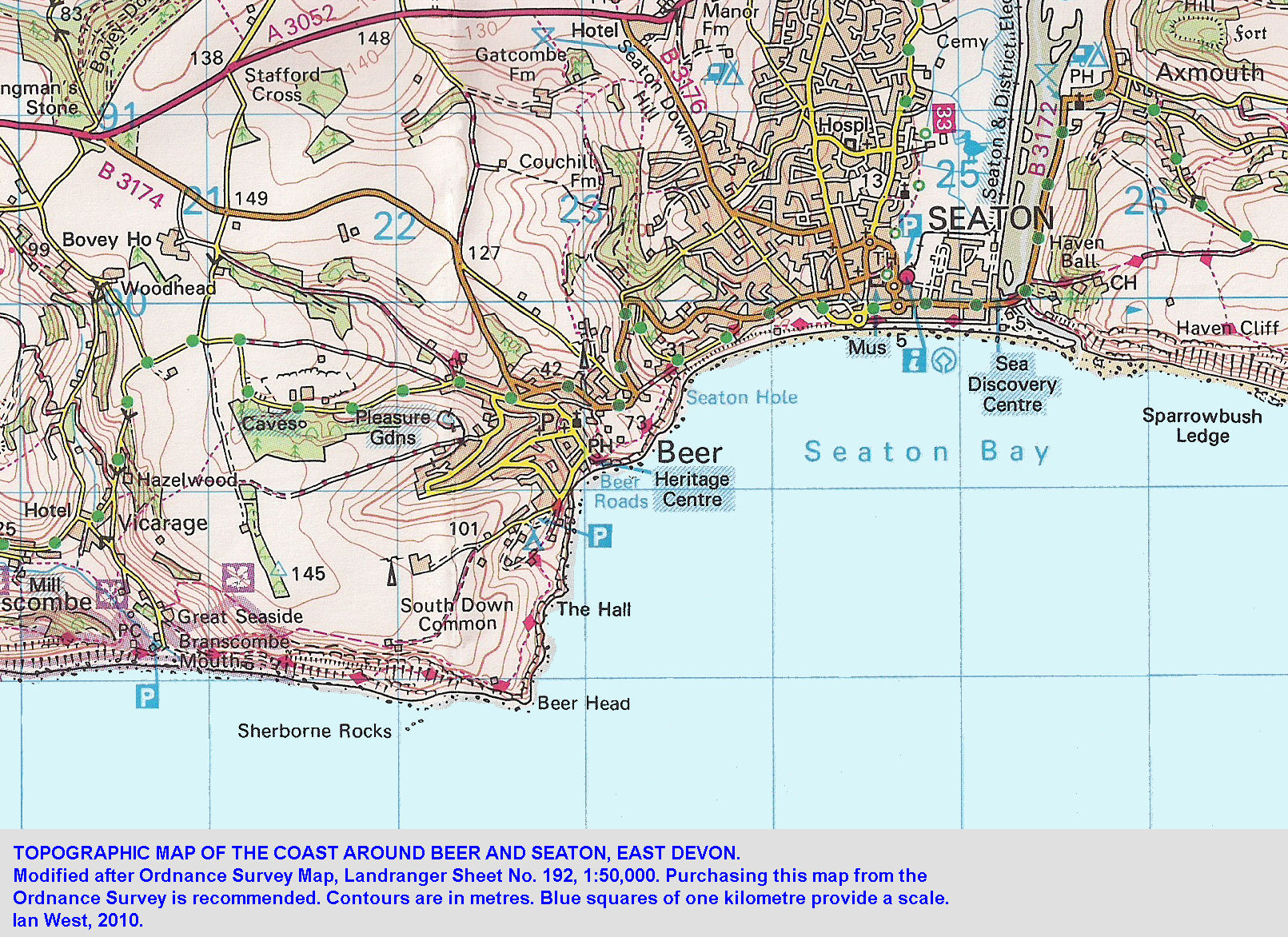 a topographic map of beer and seaton east devon 2008