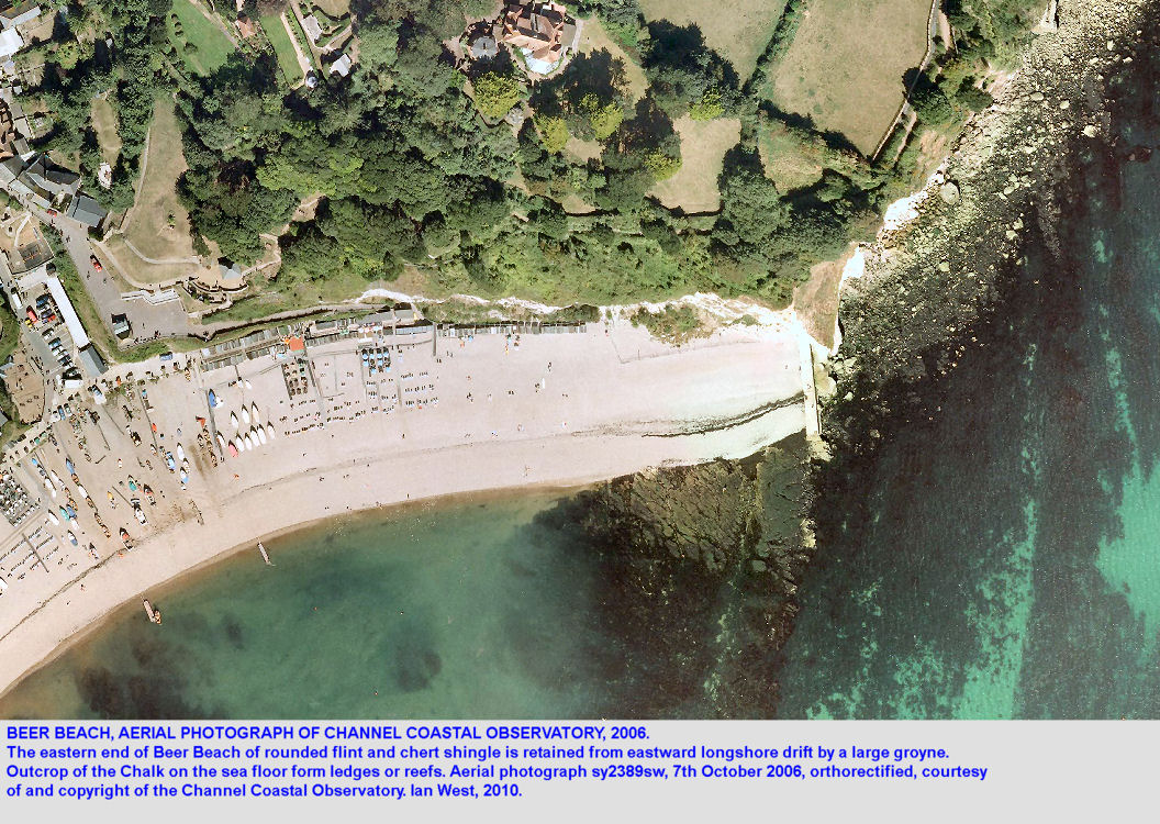 Aerial photograph of Beer Beach, East Devon, 2006