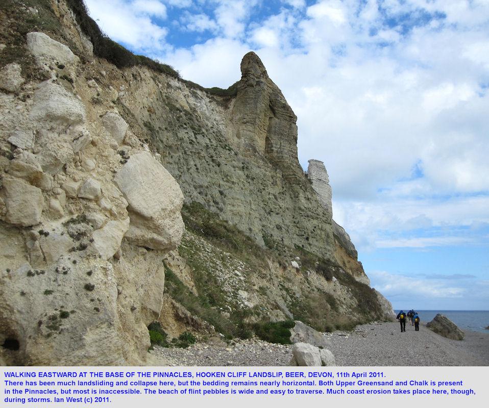 Beach at the base of the Pinnacles, Hooken Cliff Landslide, Beer, East Devon, 2011