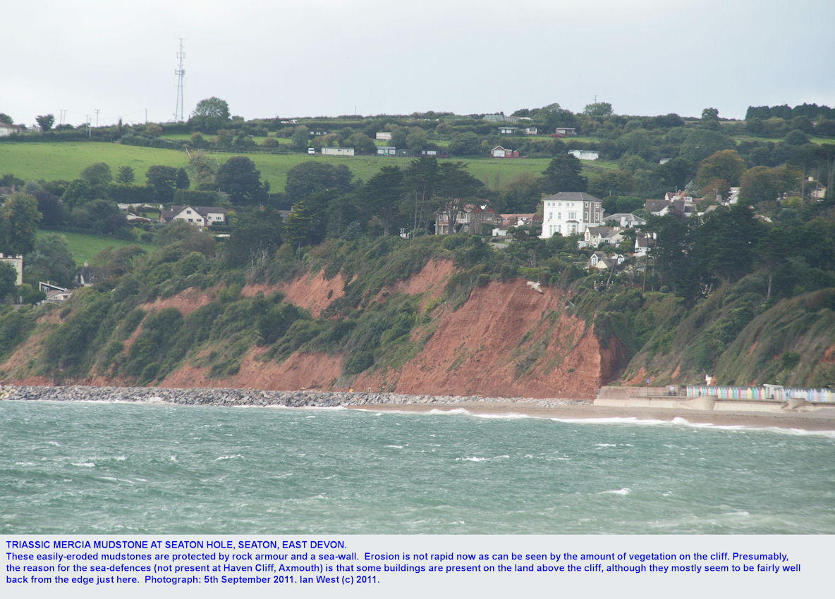 Seaton Hole, Seaton, East Devon, with cliffs of reddish Mercia Mudstone, Triassic, September 2011