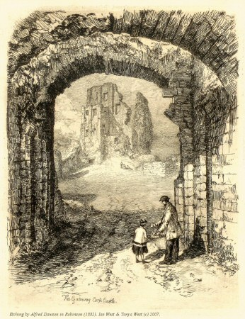 Etching of Corfe Castle by Alfred Dawson in Robinson (1882)