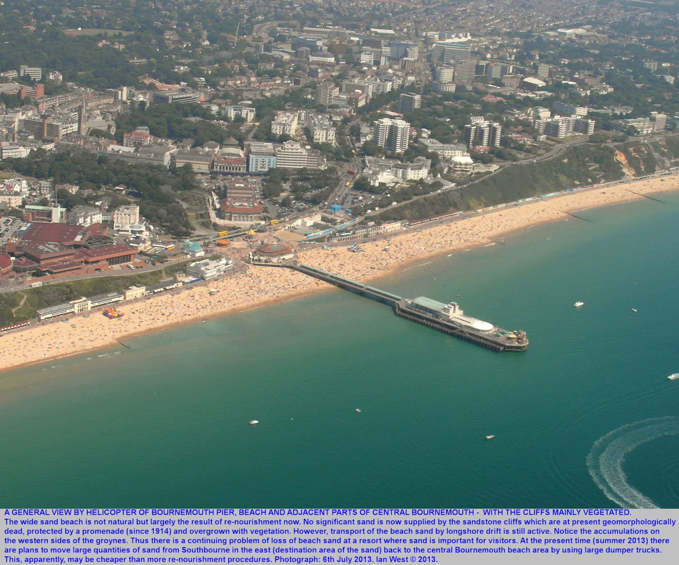 A general view of Bournemouth Pier, Bournemouth, Dorset, and the re-nourished sandy beach, as seen from a helicopter, 6th July 2013