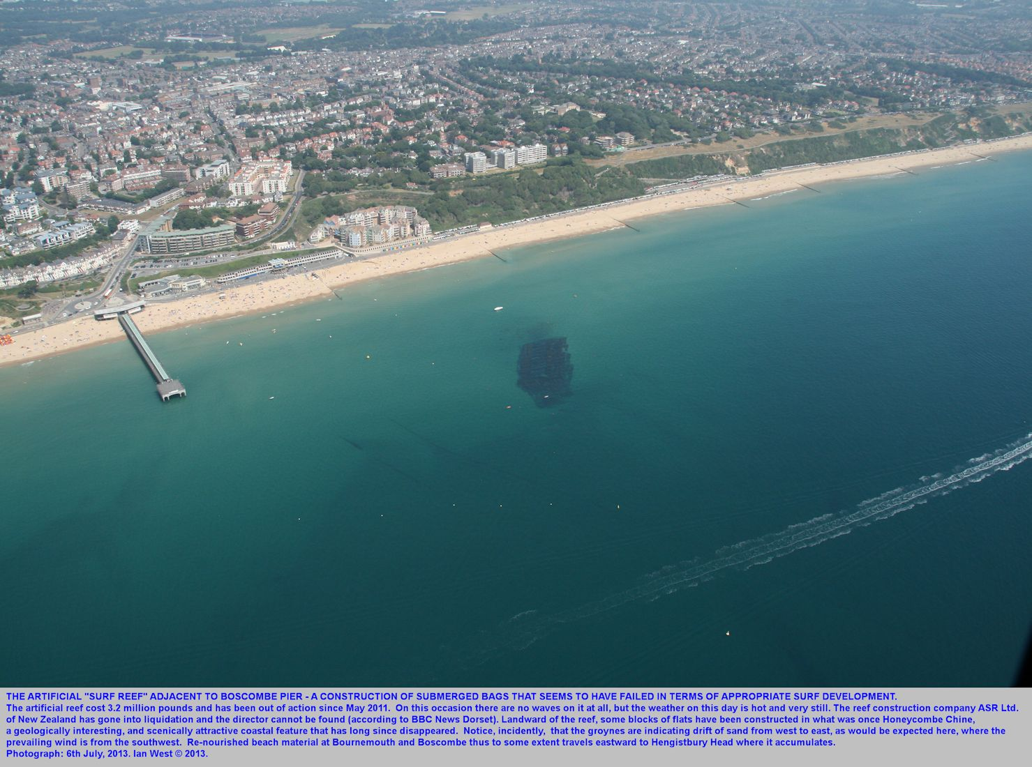 The artificial surf reef east of Boscombe Pier, Bournemouth, Dorset, as seen by helicopter on the 6th July 2013.