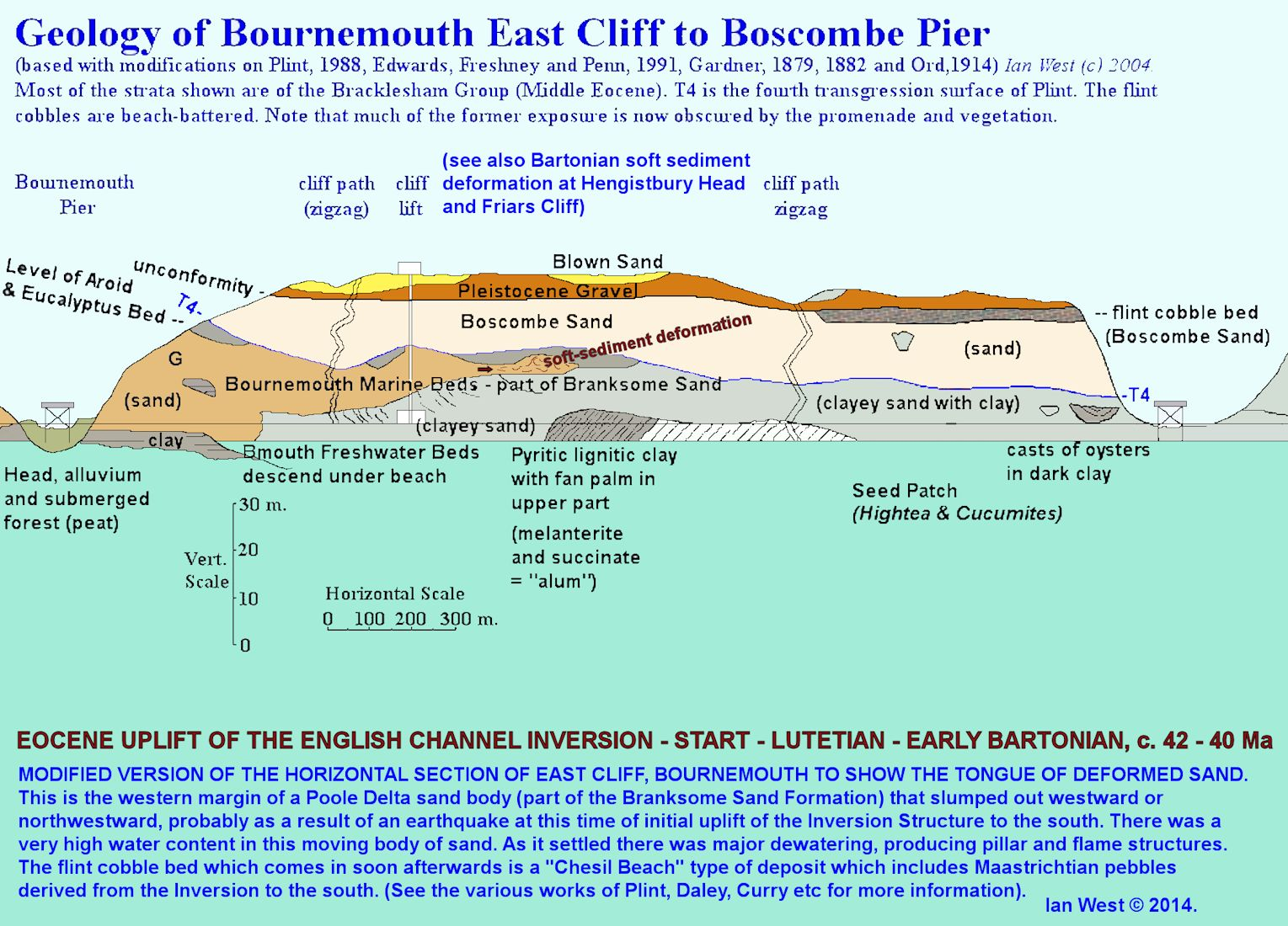 Eocene uplift of the Inversion Structure - soft sediment deformation (palaeoseismicity?) and a pebble beach development, with Maastrichtian pebbles from the south; evidence from Bournemouth, Dorset, in a cliff section