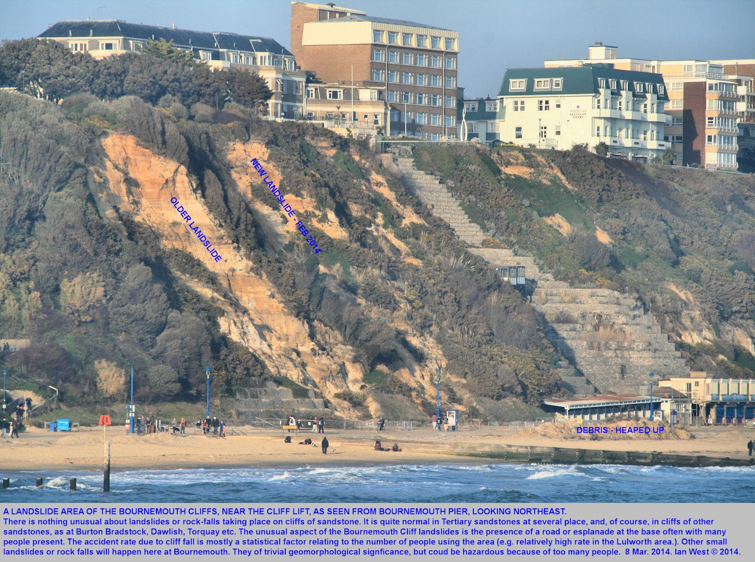 Two landslide sites in the Tertiary sandstone cliffs of Bournemouth, Dorset, as seen to the northeast of  Bournemouth Pier, photograph 8th March 2014