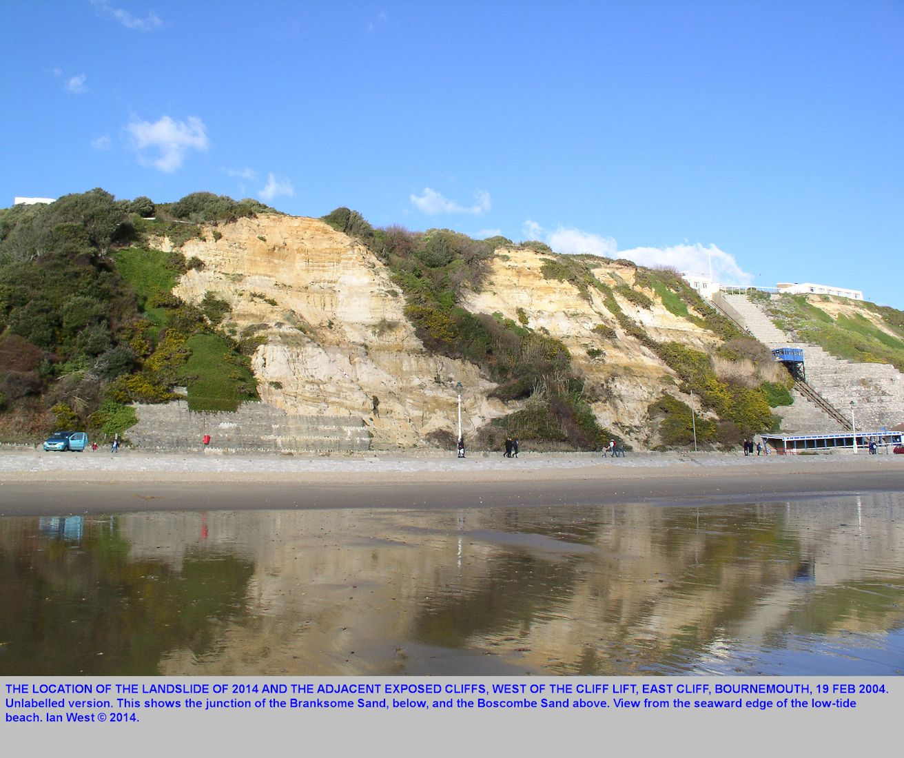 The cliff location, as seen from the low tide mark in 2004, of the landslide site of 2014, East Cliff, Bournemouth, Dorset