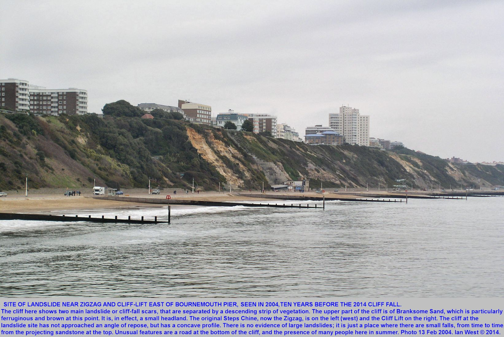 An old photograph of 2004, showing the original form of the cliff at the site of the fall of Boscombe Sands on the night of the 20th to 21st February 2014, between the Zizag Path and the Cliff Lift, east of Bournemouth Pier, Dorset