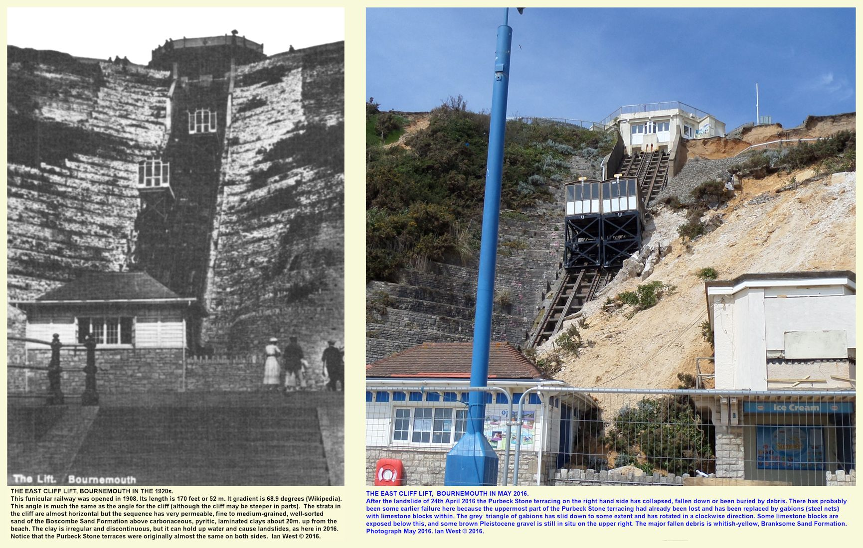 The East Cliff, Cliff Lift, Bournemouth, Dorset, in about 1920 and after the landslide of April 2016