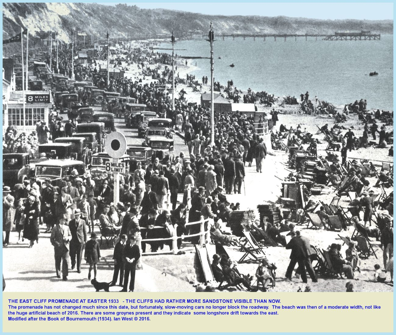 The Bournemouth East Cliff and Undercliff Drive at Easter 1933, modified by Ian West