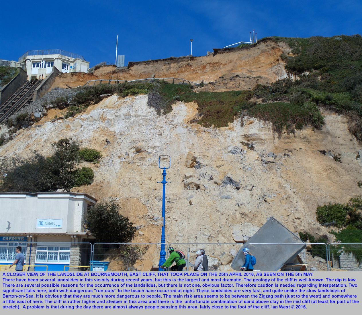 A closer view of the landslide adjacent to the East Cliff Cliff Lift, Bournemouth, Dorset, as seen on the 5th May 2016