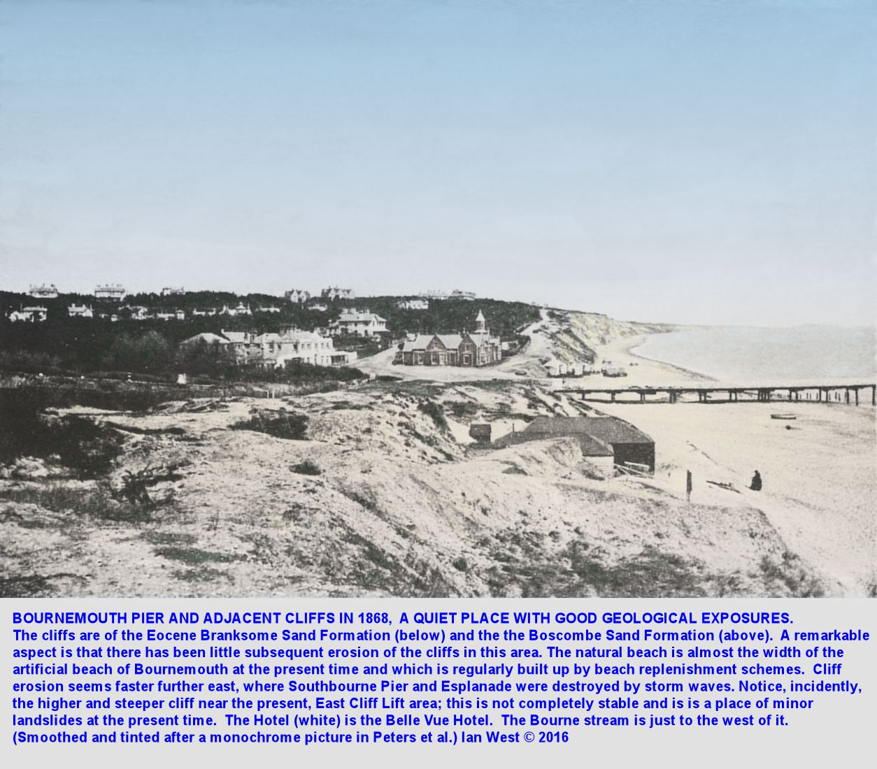 Bournemouth Pier and vicinity, Dorset, in 1868, at that time a quiet coastal locality with natural Eocene cliffs, no promenades and no crowds