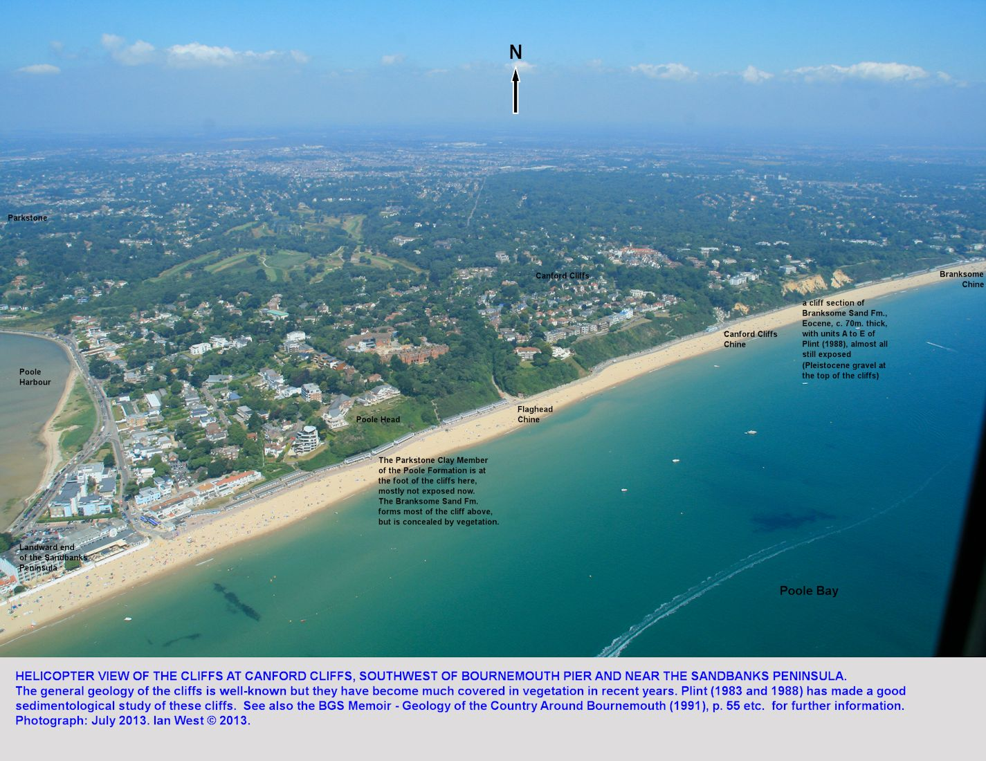 Limited cliff exposures of the Branksome Sand Formation at Canford Cliffs, west of Bournemouth, Dorset, helicopter view, 2013